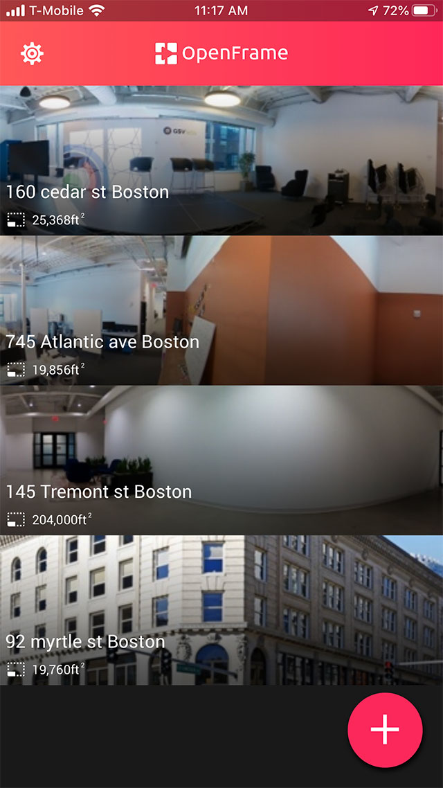 Screenshot of OpenFrame app, property list