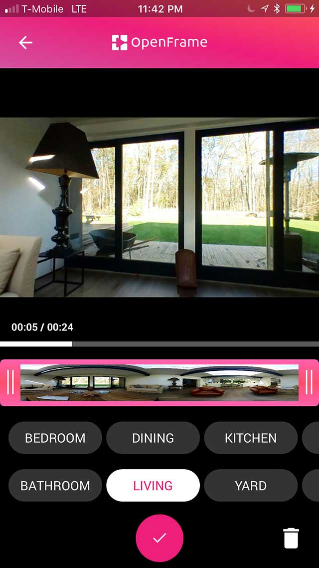Screenshot of OpenFrame app, trimming and labeling