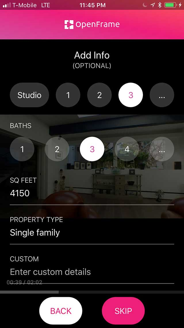 Screenshot of OpenFrame app, property info