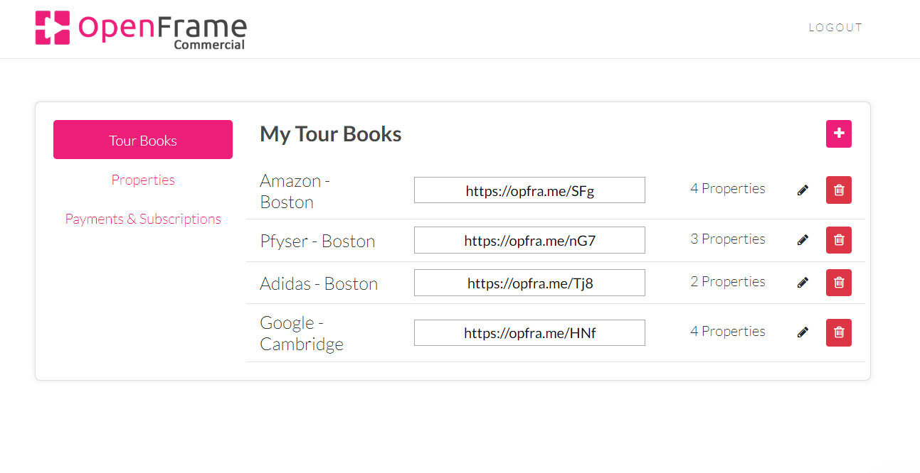Admin interface for tourbook management, list of tourbooks